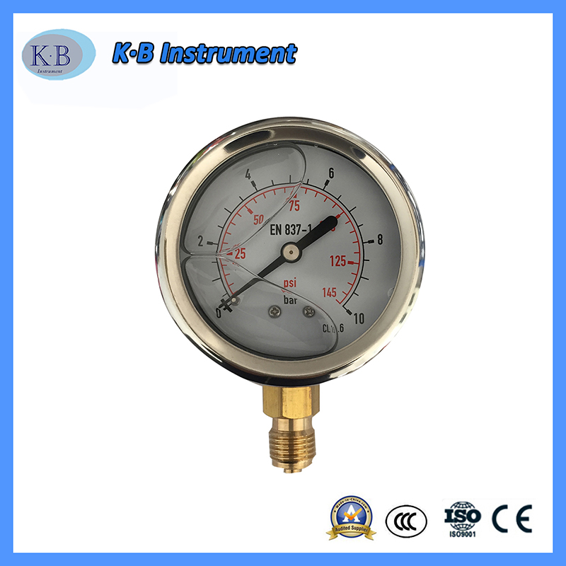 Stainless Steel Liquid Filled Brass Movement OEM Logo Pressure Gauge Manometer