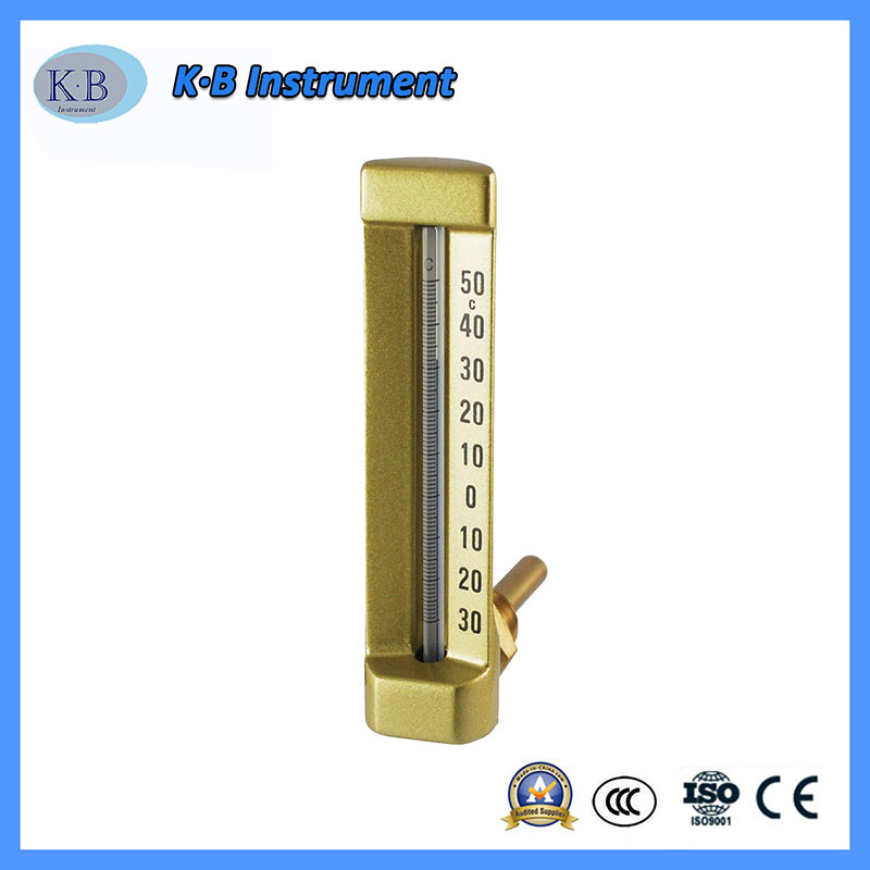 Wholesale Factory Price Custom Made Industrial Thermometer V-Line Vline V Line Thermometer Angle Straight Brass Golden Finish Glass Thermometer
